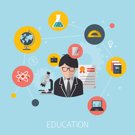 flat design concept icons for education. Modern flat icons vector concept of high school object and college education items with teaching and learning symbol