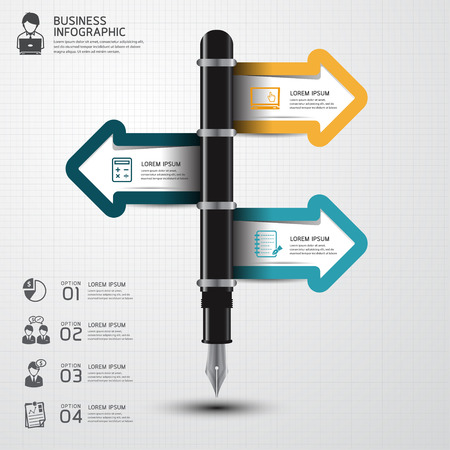 business pen: Education and Business pen Infographics step option. Vector illustration. Illustration