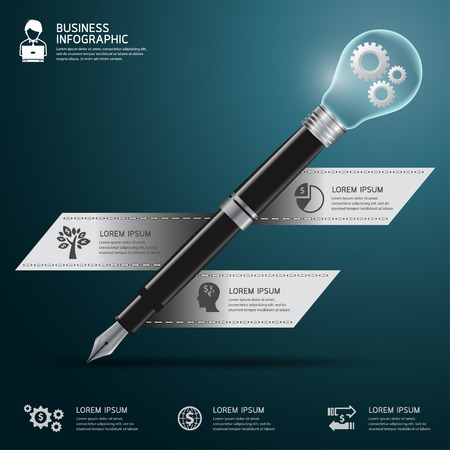 business pen: Business pen with bulb Infographics step option. Vector illustration. can be used for workflow layout, banner, diagram, number options, step up options, web design. Illustration