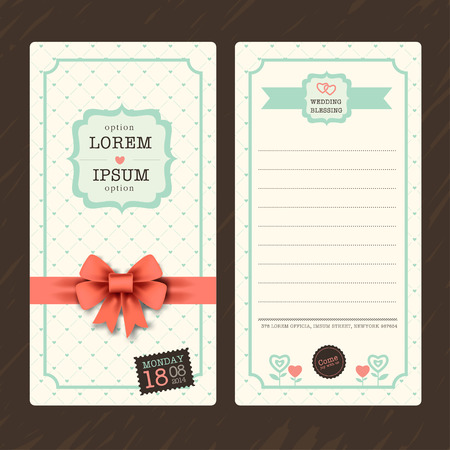 blessing: Vintage Ticket Wedding Invitation Card Template