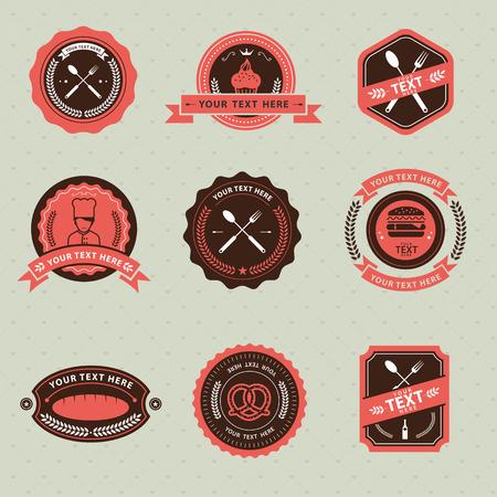 badge vector: Vector Set of vintage badge food and restaurant, labels and design elements