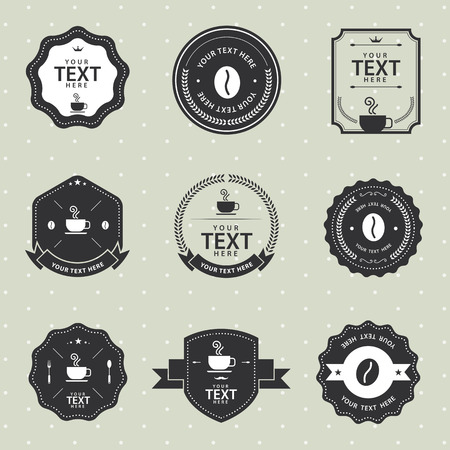 roman beans: Vector Set of vintage badge coffee and cup, labels and design elements