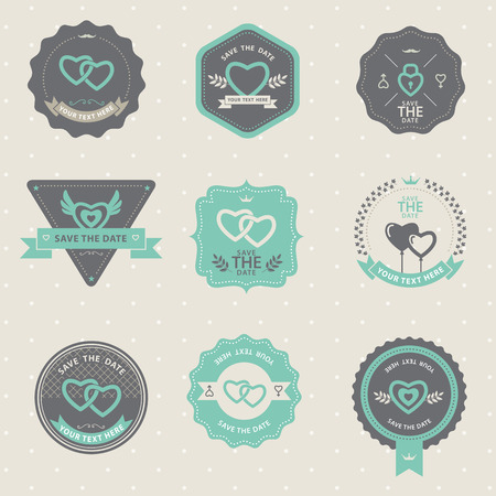 love stamp: Set of vintage badge Wedding and love, labels and design elements Illustration