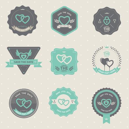 Set of vintage badge Wedding and love, labels and design elements Illustration