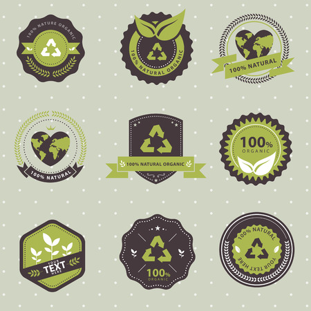 Vector Set of vintage badge ecology and recycle, labels and design elements Vector