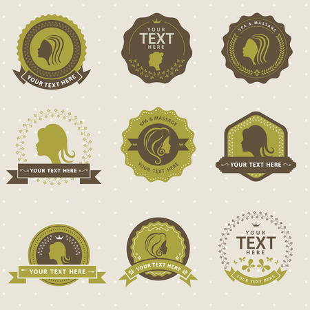 aroma therapy: Vector Set of vintage badge beauty relax spa and massage, labels and design elements Illustration