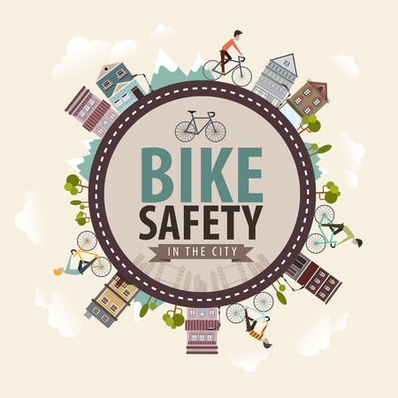 Vector Vintage Bike bicycle safety in the city concept Illustration