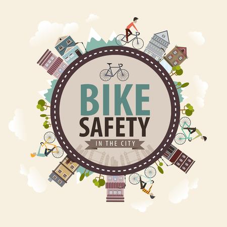 bicicleta: Vector Vintage Bike seguridad de la bicicleta en el concepto de ciudad