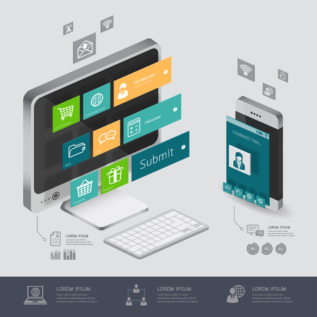 application software: infographic communication and connection shopping online, e-commerce concept with smartphone illustration 3d vector perspective view design