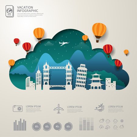 airplane ticket: Vector Infographics Travel and Vacation concept elements.