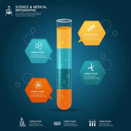 probeta: Vector de vidrio tubo de ensayo la educación química concepto infografía