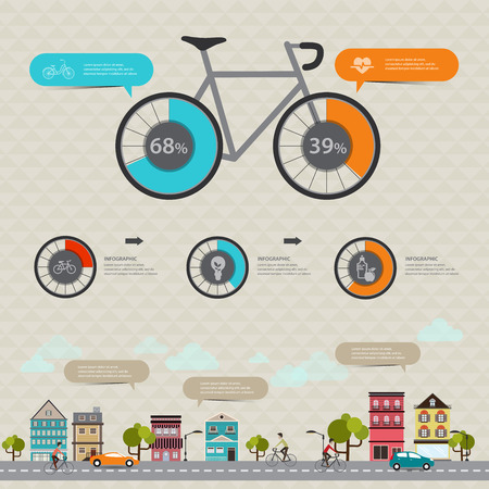information  isolated: Vector concept modern Design Fitness and sports statistics with bicycle infographics