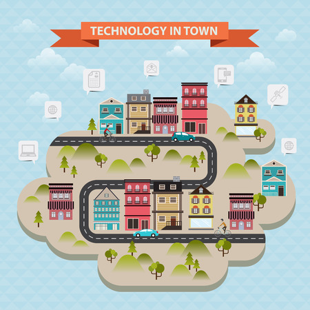 link work: vector concept internet and communication technology in city
