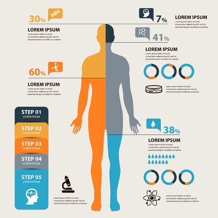 Vector Medical and health Infographics concept Çizim