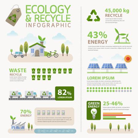 reciclar basura: Ecolog�a de vectores y el concepto de reciclaje Infograf�a Vectores