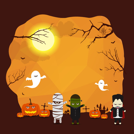Vector Halloween border background for design with monster ghost mummy Dracula Illustration