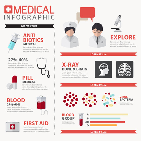 Vector Medical and health Infographics concept Vectores