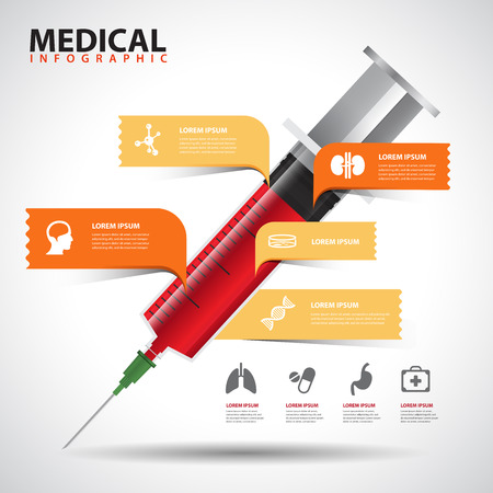 Creative Template with Medical Syringe speech bubble banner  can be used for infographics  banners  medical concept vector illustration Vector