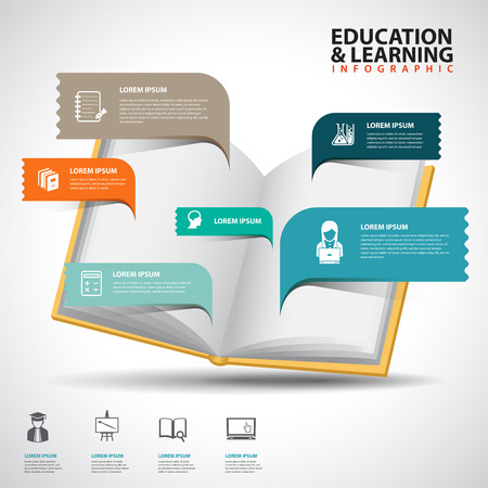 Creative Template with book speech bubble banner / can be used for infographics / banners / education concept vector illustration Illustration