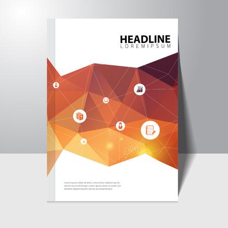 多角形の背景を持つベクトル教育本表紙のデザイン テンプレート  イラスト・ベクター素材