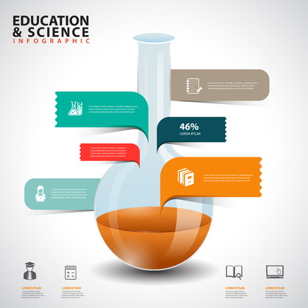 Creative concept infographics test tube glass with speech bubble Vector