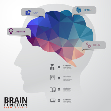 head: Vector Brain with Human Head infographics Design Conceptual Polygon Style