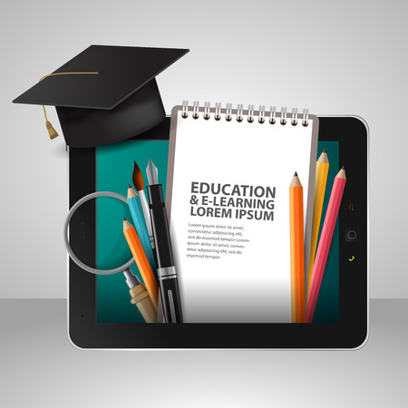 computer training: Vector Education school university e-learning concept with tablet Illustration