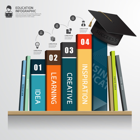 Vector infographic success education concept Row of books and graduation cap on shelf