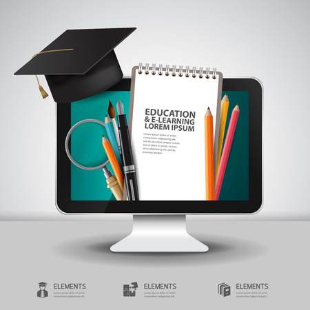 computer training: Vector Education school university e-learning concept with computer Illustration