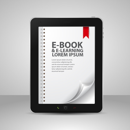 e book: E-books and Tablet Computer with Pages and Books Illustration