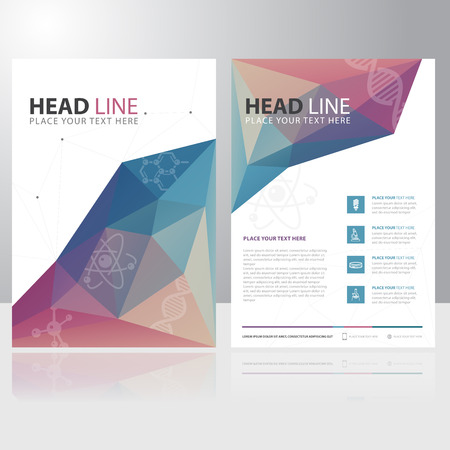 Abstract Triangle Polygon Science Education Brochure Flyer design vector template Иллюстрация