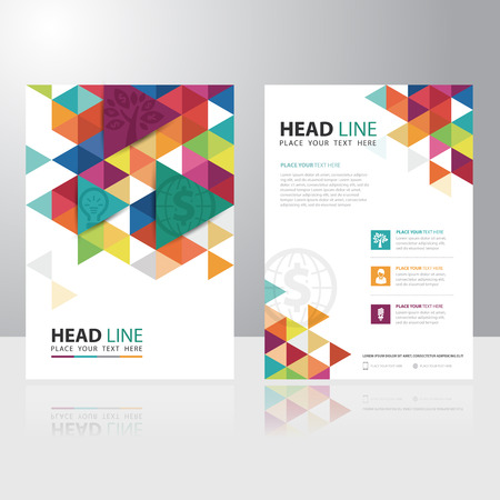 blank book cover: Abstract Triangle Business Brochure Flyer design vector template