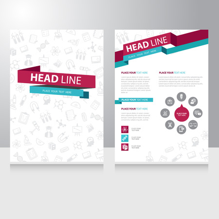 Abstract color Education study Brochure Flyer design vector template Çizim