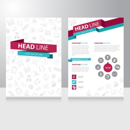 estudiar: Resumen estudio Educación de color Modelo del folleto folleto de diseño vectorial