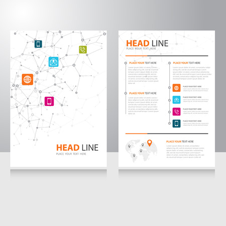 Vector internet communication Brochure Flyer design template with polygonal wireframe background Vettoriali