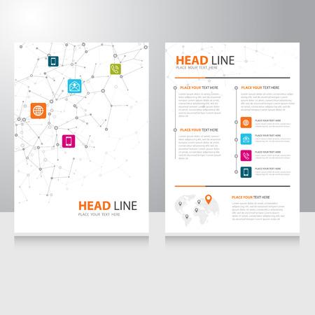 plantilla: Vector la comunicación por Internet plantilla de diseño Folleto folleto con el fondo de alambre poligonal