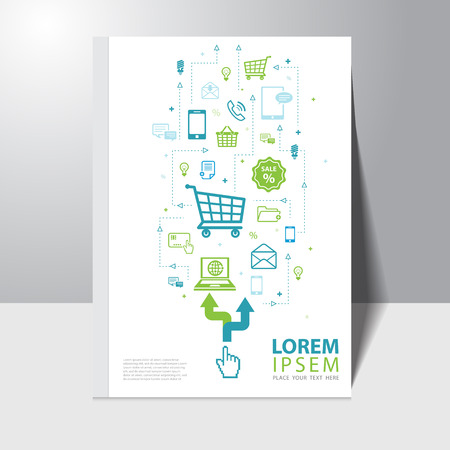 Vector e-commerce and shopping online book cover design template with icon background Vector