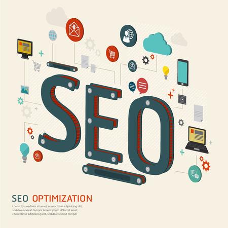 Infografik Hintergrund SEO-Optimierung. SEO Konzept. Website SEO Maschine.