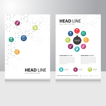 atomo: Tecnología médica y la ciencia de la salud del vector plantilla de diseño Folleto folleto con fondo química molécula Vectores