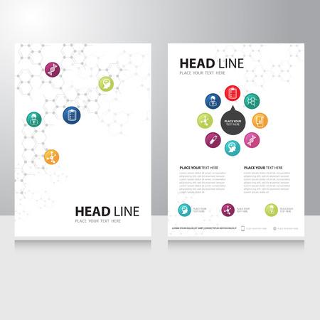 technology: Vector sanitaria tecnologia medica e della scienza modello di progettazione brochure Flyer con sfondo molecola chimica