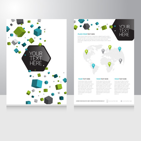 Abstract cube Polygon Business internet online communication Brochure Flyer design vector template