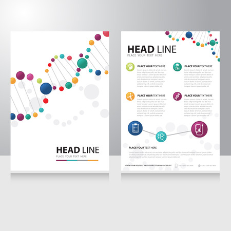 Vector gezondheidszorg medische en wetenschap technologie Brochure Flyer ontwerp sjabloon met spiraalvormige helix dna achtergrond