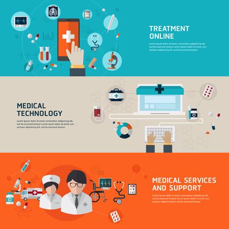 Le diagnostic médical et le traitement en ligne. Appartement concepts de design pour des bannières web et des documents imprimés et du matériel promotionnel.