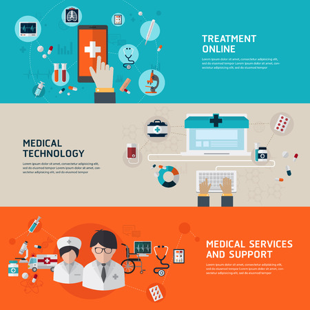 diagnosis: Online medical diagnosis and treatment. Flat design concepts for web banners and printed materials and promotional materials.
