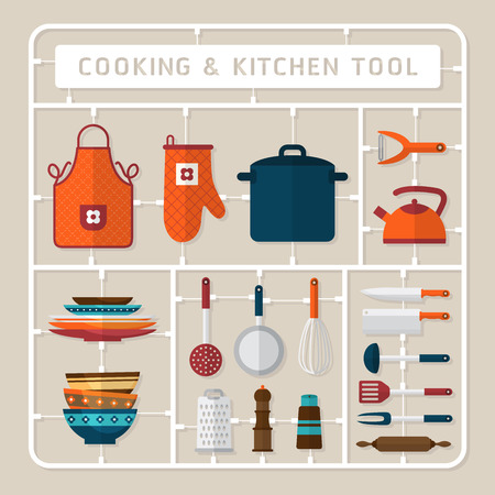 kitchen tools: Creative thinking vector flat design model kits for cooking accessory and kitchen tools