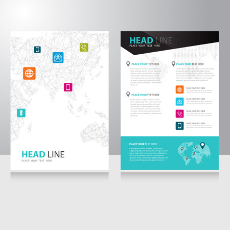Vector internet communication world map Brochure Flyer design template with polygonal wireframe background Vector