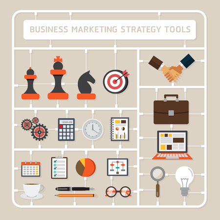 tools icon: Creative thinking vector flat design model kits for business marketing strategy tools Illustration