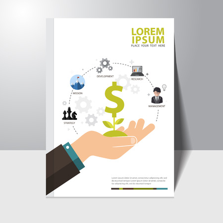 success concept: Vector infographics background business success concept book cover design template Illustration