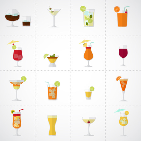 fruit drink: Alcohol drinks and cocktails soft and longdrinks icon set in flat design style.