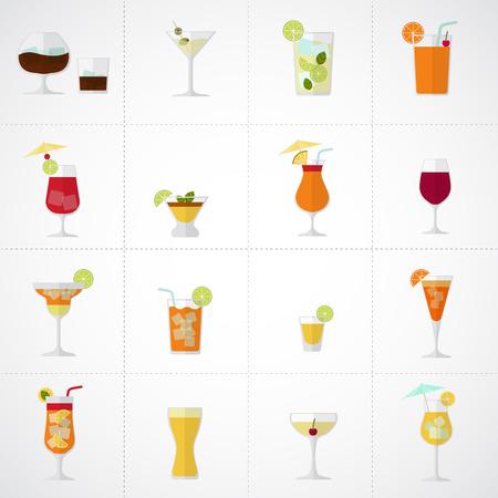 Bebidas alcoólicas e coquetéis suaves e longdrinks ícone ajustado no estilo design plano.